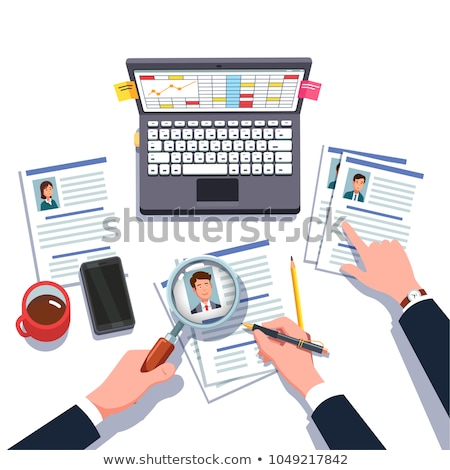 Boss Through Magnifying Glass Examines The Candidate Resume Vector Flat Cartoon Illustration Stock photo © pikepicture