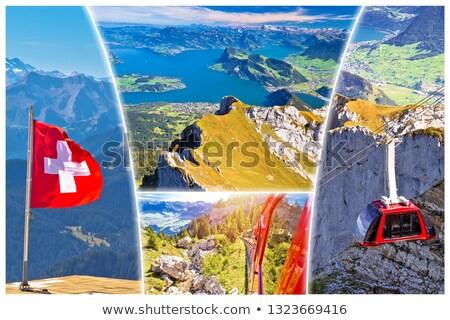 湖 · はがき · コラージュ · 表示 · 高山 - ストックフォト © xbrchx