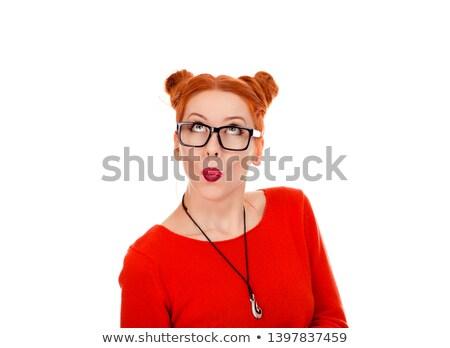retrato · belo · surpreendido · mulher · vermelho · blusa - foto stock © studiolucky