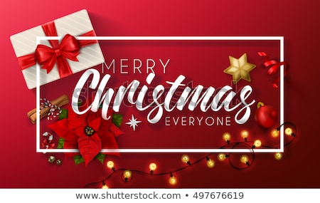 Merry Christmas lettering greeting card, mistletoe Stock photo © robuart