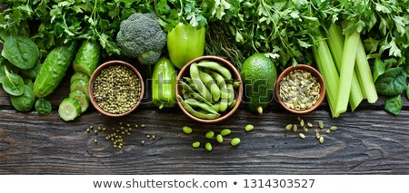 Stock photo: Variety of green organic vegetables. Clean eating food concept.