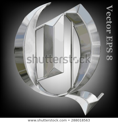 rusty metal font letter q 3d stock photo © djmilic