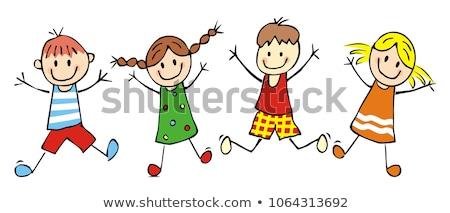 afstuderen · kinderen · lopen · cute · toga - stockfoto © toyotoyo