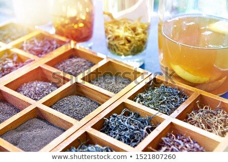 Különböző tea üveg virág étel háttér Stock fotó © galitskaya