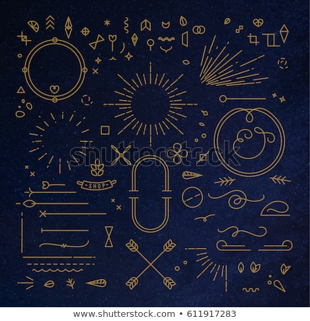 Stock photo: Vintage Blue And Gold Ribbons Set Banner Template Design Elements