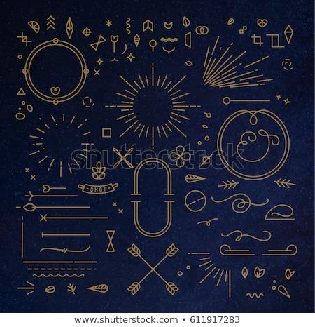 Bağbozumu mavi altın ayarlamak afiş Stok fotoğraf © MarySan