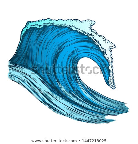 Color Rushing Tropical Ocean Marine Wave Storm Vector Stock photo © pikepicture
