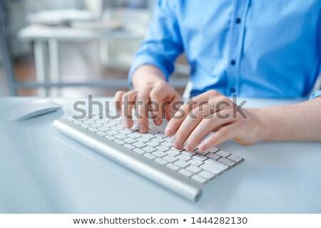 Kreatív designer kék póló megérint gombok Stock fotó © pressmaster