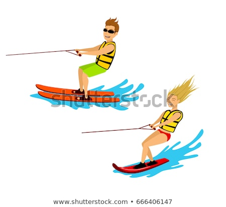 Woman on Water Skis Surfing in Sea or Ocean Vector Stock photo © robuart