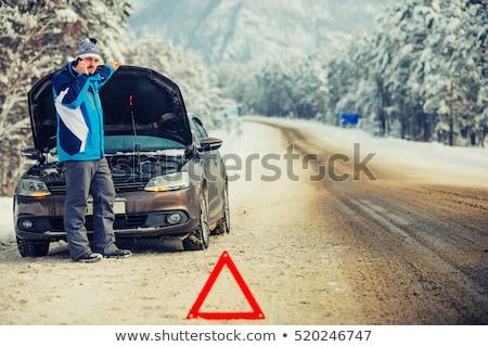 Uomo problema vicino auto rotta inverno neve Foto d'archivio © Lopolo