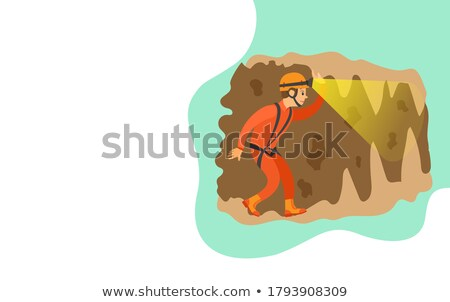 Speleotourism Man in Cave with Flashlight Web Stock photo © robuart