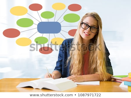 Businesswoman and Colorful mind map over bright background Stock photo © wavebreak_media