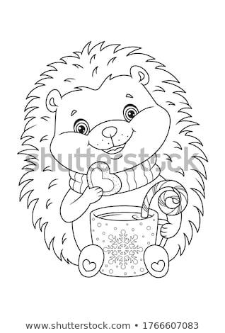 cartoon hedgehog character coloring page Stock photo © izakowski