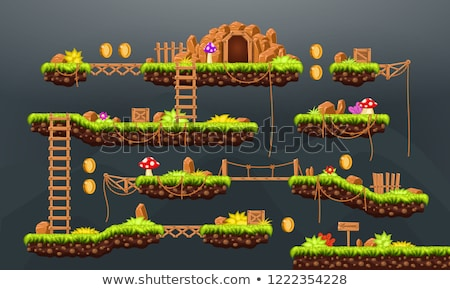 Adventure Map, Pixel Game, Green Nature Vector Stock photo © robuart