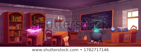Wizard with Wand and Cauldron Cartoon Stock photo © Krisdog