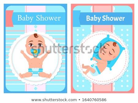 Baby prysznic plakaty zestaw snem Zdjęcia stock © robuart