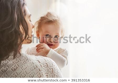 aile · oynama · battaniye · güzel · kız · anne - stok fotoğraf © lopolo