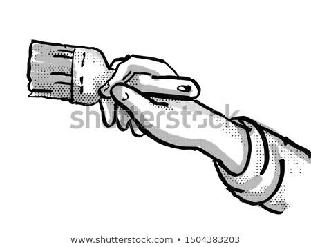 House Painter hand Painting Paintbrush Cartoon Retro Drawing Stock photo © patrimonio