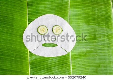 Stockfoto: Vel · gezicht · masker · komkommer · banaan · blad