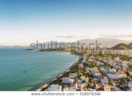 Beautiful view on Nha Trang and Bay of the South China Sea blue sky background in Khanh Hoa province Stock photo © galitskaya