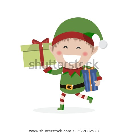 Christmas goblin. Little elf with presents. Vector illustration Stock photo © Imaagio