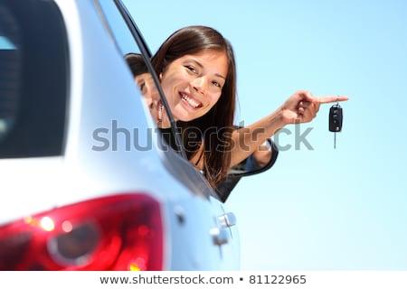 mutlu · kadın · anahtar · yeni · araç · kız - stok fotoğraf © Nobilior