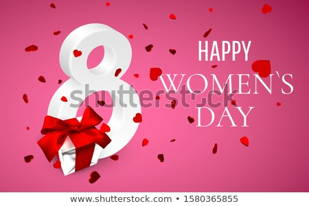 8 march Happy Womens Day. Gift box with red bow and flying hearts on pink background. Vector illustr Stock photo © olehsvetiukha