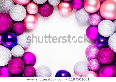 Christmas flat lay scene with glass balls Stock photo © neirfy