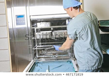 Homens trabalhando lugar hospital biga homem Foto stock © Lopolo