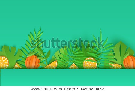 Horizontal papercraft green background from leaves. Stock photo © artjazz