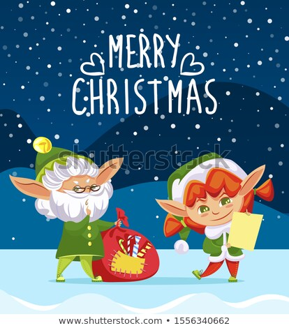 Merry Christmas Greeting Card, Elf Stand in Forest Stock photo © robuart