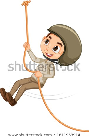 Jongen safari klimmen geïsoleerd illustratie glimlach Stockfoto © bluering