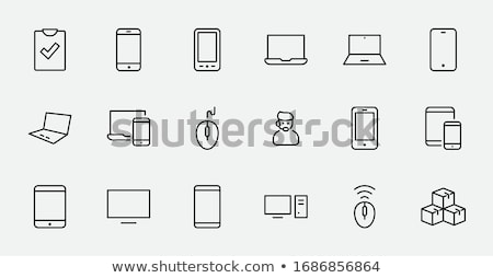 Laptop Icon Vector Outline Illustration Stock photo © pikepicture