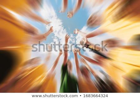 Crianças futebol equipe mãos treinador combinar Foto stock © matimix