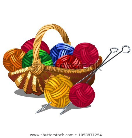 A set of tangles of multicolored yarn in a wicker basket isolated on white background. Vector cartoo Stock photo © Lady-Luck