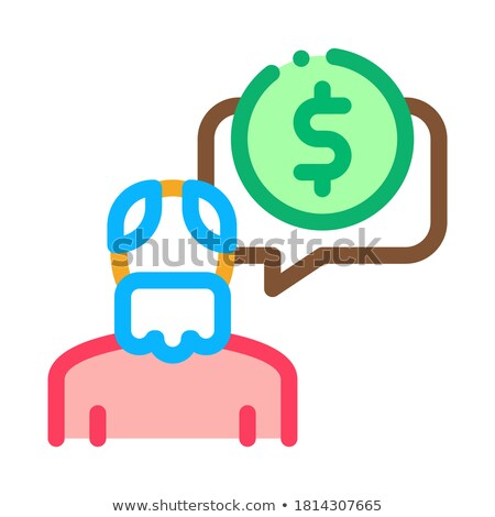 Elder Man Coin Icon Vector Outline Illustration Stock photo © pikepicture