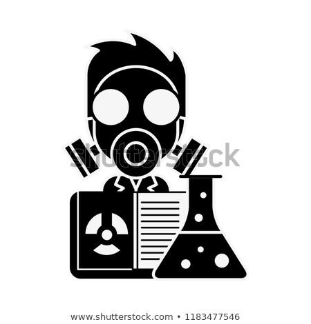 Bilimsel adam profesör maske radyasyon deney tüpü Stok fotoğraf © yupiramos