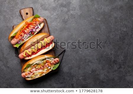 Különböző hot dog zöldségek saláta fűszerek fából készült Stock fotó © karandaev