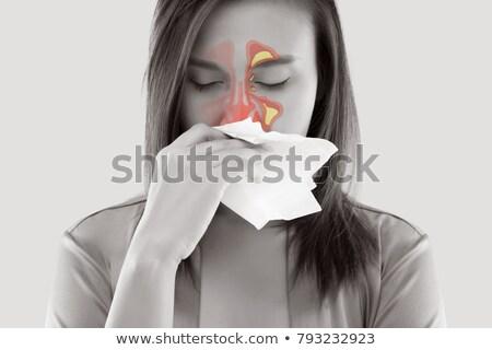 Asian women feeling unwell and sinus Stock photo © eddows_arunothai