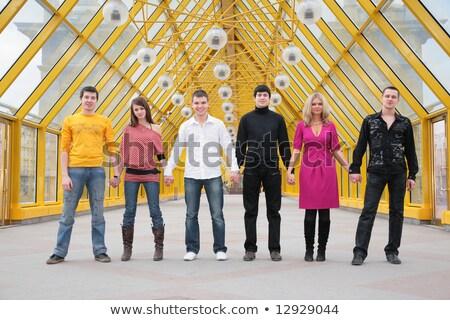 группа друзей стоять рук пешеходный мост Сток-фото © Paha_L
