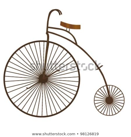 Stock fotó: öreg · fekete · bicikli · fém · keret · bicikli