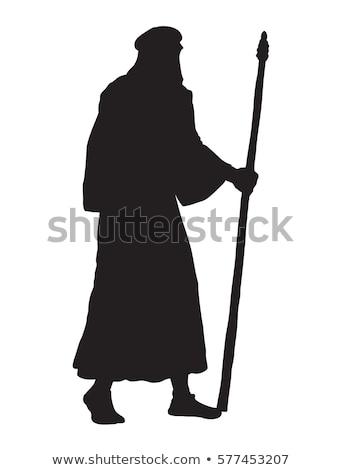 Kisebbségi férfi köntös visel szállít táska Stock fotó © lovleah