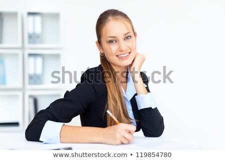 Aantrekkelijk secretaris vergadering bureau vrouw kantoor Stockfoto © photography33