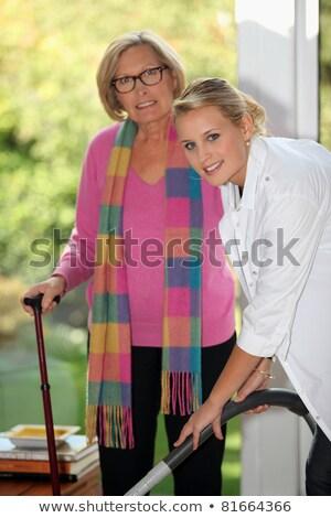 jonge · vrouw · helpen · senior · dame · home · familie - stockfoto © photography33