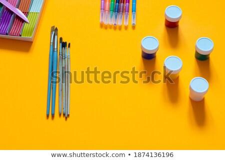 borravaló · ecset · narancs · copy · space · citromsárga · festék - stock fotó © mnsanthoshkumar