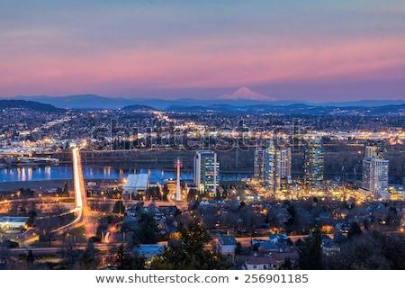 Freeway Light Trails in Portland Oregon Stock photo © davidgn