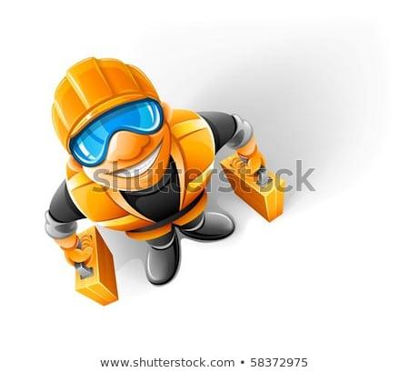 naranja · cabeza · hombre · hasta · negro · éxito - foto stock © loopall