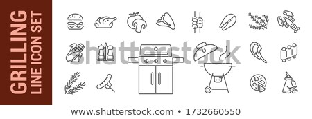 homard · crevettes · queue · blanche · plaque · table - photo stock © ozgur