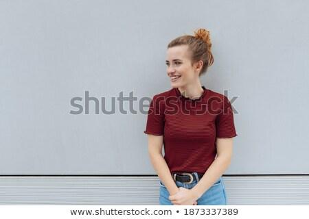 jeune · femme · souriant · côté · blanche · heureux - photo stock © wavebreak_media
