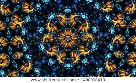Foto stock: Vintage Blue Oriental Kaleidoscope Background